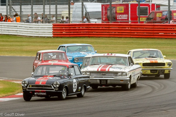 The Trans-Atlantic Touring Car Trophy race saw Minis and Ford Lotus Cortinas battle with American super-cars like the Ford Galaxie and Ford Mustang
