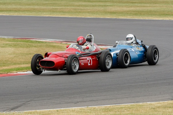 How close can you go?  Eventual winner Julian Bronson  puts the heat on Tony Wood in the Froilan Gonzalez Trophy for HGPCA Pre'61 Grand Prix Cars
