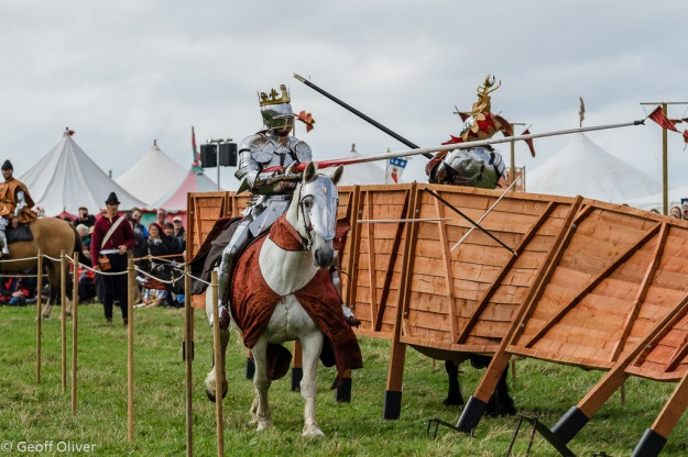 Jousting Tournament - just as the fence collapsed - Bosworth Battlefield Anniversary Re-enactment 2013