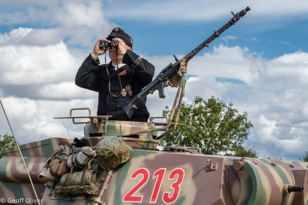 German Tank Commander looks for sight of the enemy, The Victory Show 2013